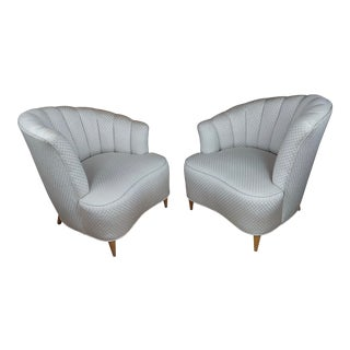 1940s Hollywood Regency Asymmetrical Fan Back Lounge Chairs- a Pair For Sale