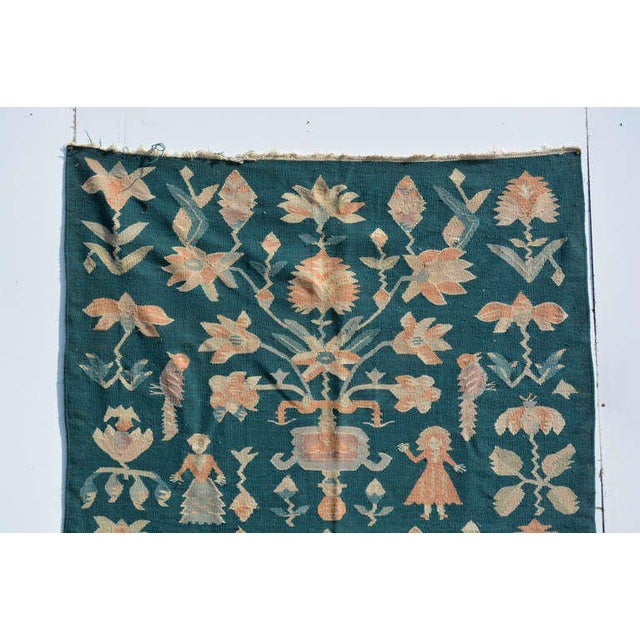 1950s Mid-Century Modern Wall Tapestry Green Rug For Sale - Image 5 of 7