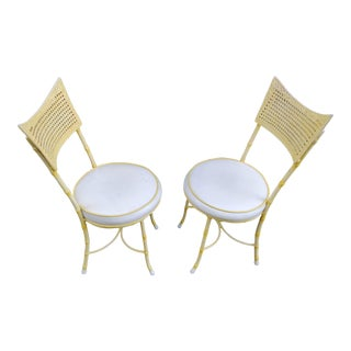 Vintage Mid-Century Modern Moultrie Mfg Yellow Metal Faux Bamboo Chairs - a Pair For Sale