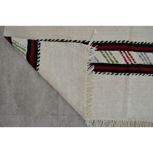 Vintage Natural Stripe Turkish Cotton Kilim Rug - 4′3″ × 8′ - Image 8 of 9