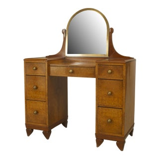 French Art Deco Amboyna Wood Kneehole Dressing Table For Sale