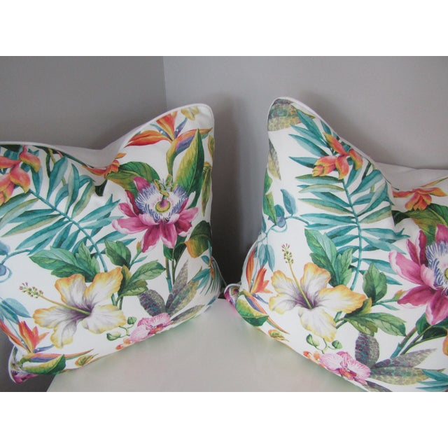 Contemporary Tropical Floral Print Accent Pillows - a Pair For Sale - Image 4 of 5
