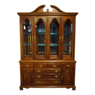 "Traditional Stanley Furniture American Craftsman Cherry 60"" Lighted Display China Cabinet For Sale"