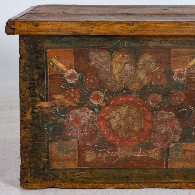 Mid 19th Century 19th Century Antique Painted Trunk For Sale - Image 5 of 10