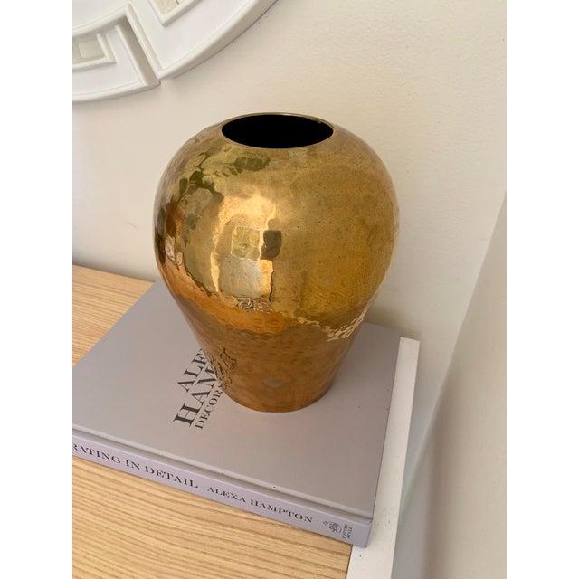 Metal Vintage Hammered Brass Vase For Sale - Image 7 of 7