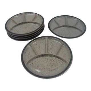 Vintage Sectioned Stoneware Diner Plates - Set of 6 For Sale