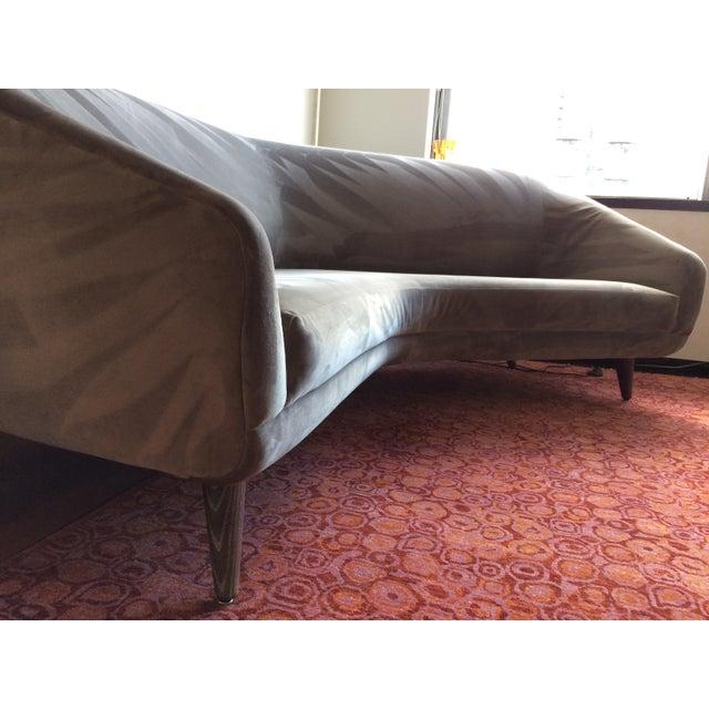 Vladimir Kagan for Weiman Gray Velvet Angled Sofa - Image 2 of 8