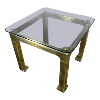 1980s Hollywood Regency Mastercraft Brass & Glass End Table For Sale