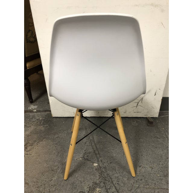 White Eames Style White Molded Eiffel Chairs - Set of Six For Sale - Image 8 of 10