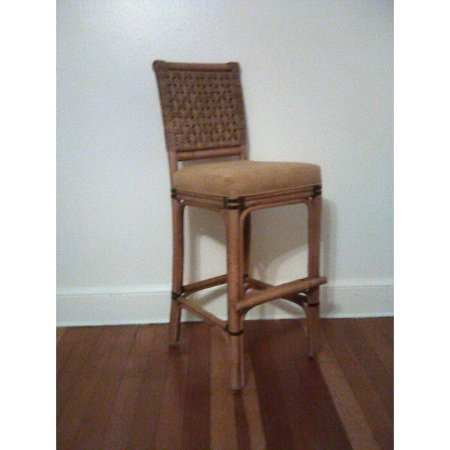 """Set 3 Palecek bamboo, leather and woven jute bar stools. 3"""" Fabric cushioned seat covered in a neutral camel faux suede..."""