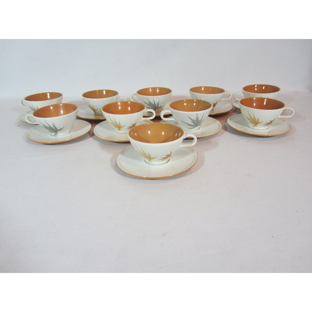 Ceramic Mid-Century Iroquois China Cup and Saucers - Service for 10 For Sale - Image 7 of 7