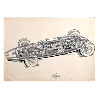 "Original ""Cutaway"" Drawing of the Lotus 20 Racing Car by Brian Hatton For Sale"