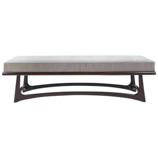Modernist Sculptural Walnut Bench in Velvet For Sale