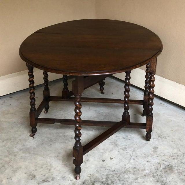Antique Barley Twist Gateleg Drop Leaf Table For Sale - Image 12 of 13