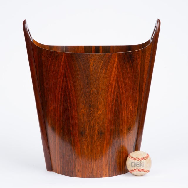 Mid-Century Modern Norwegian Rosewood Wastebasket by Einar Barnes for P.S. Heggen For Sale - Image 3 of 12