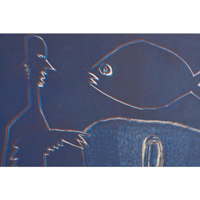 Late 20th Century Wyona Diskin Blue Man With Fish For Sale - Image 5 of 9