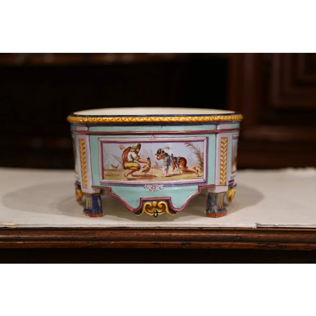 Early 20th Century, French Hand Painted Ceramic Oval Jardinière Signed For Sale - Image 4 of 12