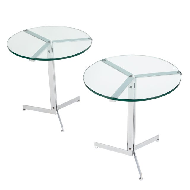 "1970s Hans Eichenberger ""Alpha"" Side Tables in Chrome and Glass - a Pair For Sale - Image 12 of 12"
