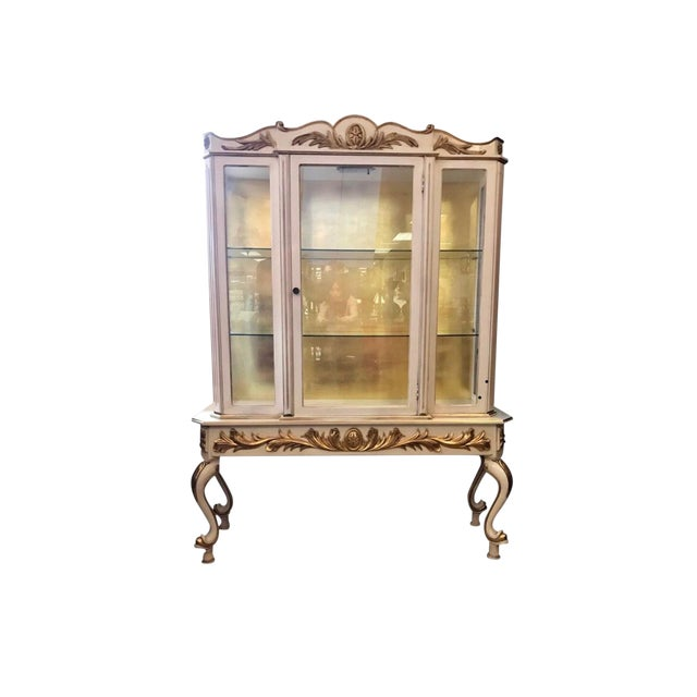 Italian Cream Painted and Gold Gilt Display China Cabinet Vitrine For Sale