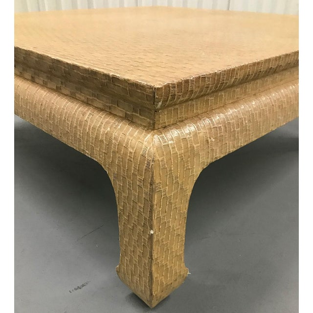 1980s Vintage 1980s Baker Raffia-Covered Asian-Inspired Occasional Table For Sale - Image 5 of 12