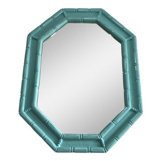 Vintage Coastal Regency Turquoise Lacquered Faux Bamboo Mirror For Sale