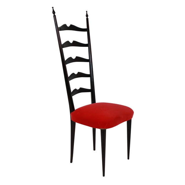 A set of two elegant curved ladder back hall chairs by Paolo Buffa. Newly upholstered in scarlet velvet.