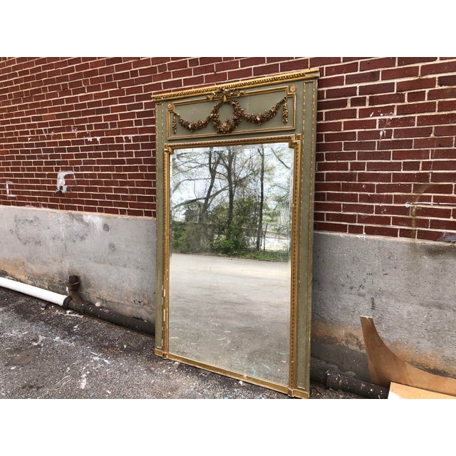 A beautiful, impressive French Louis XV C.18 trumeau mirror. Simple but very ornate giltwood with a very stunning grey-...