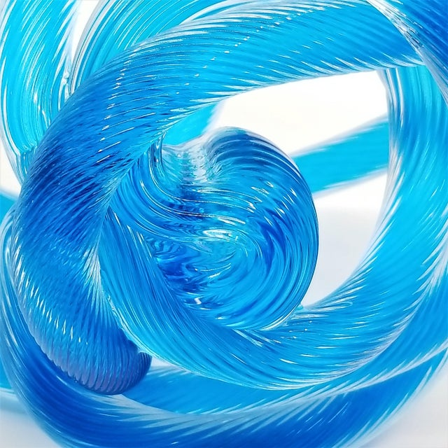 Blue Large Zanetti Style Murano Glass Caribbean Blue Twisted and Knotted Rope Sculpture - Unsigned For Sale - Image 8 of 13