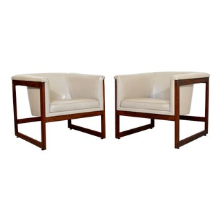 Mid Century Modern Milo Baughman Pair Floating Cube Walnut Lounge Chairs 1970s For Sale