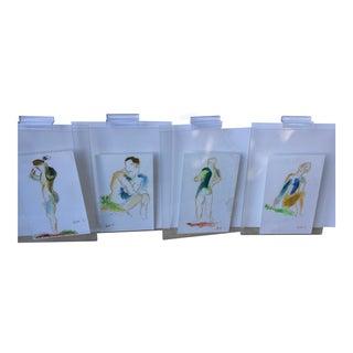 Original Pastel Sketches - Set of 4 For Sale