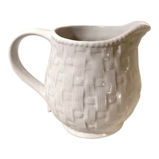 Late 20th Century Vintage Basketweave Pattern White Pitcher For Sale