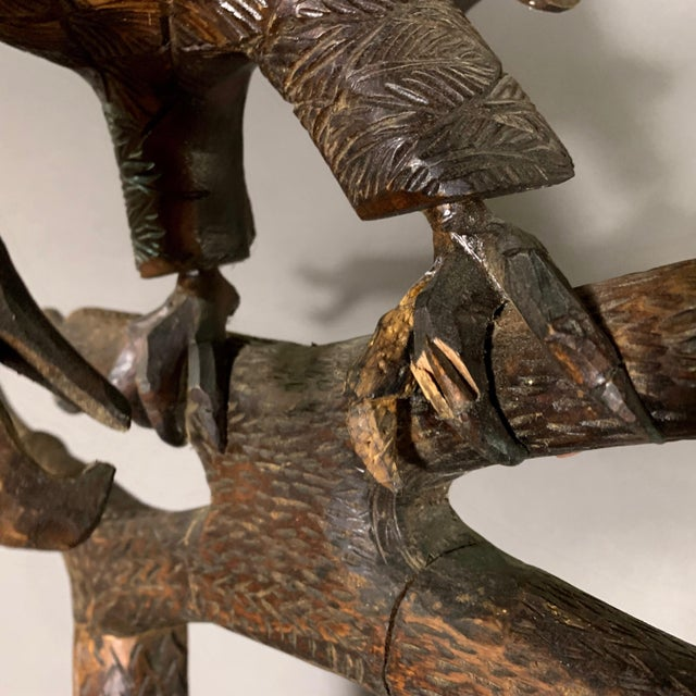 "Brown Large 78"" Black Forest Carved Hall Stand, Eagle and Stag For Sale - Image 8 of 13"