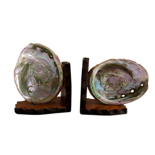 Signed Abalone Shell Wood Bookends