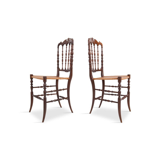 1900 - 1909 Chiavari Cherrywood & Wicker Dining Chairs After Giuseppe Gaetano Descales For Sale - Image 5 of 12