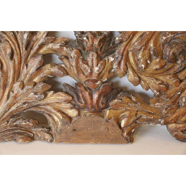 Decorative finely carved Italian giltwood architectural fragment.