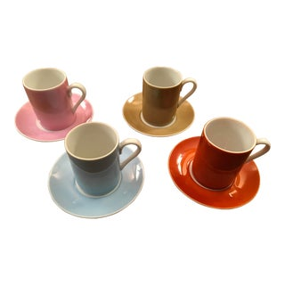 Vintage Asian Espresso Coffee Multicolored Cups & Saucers - Set of 4 For Sale