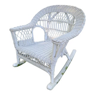 Children's Vintage Wicker Rocking Chair For Sale