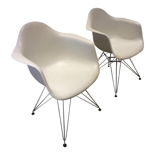 Eames White Molded Armchairs - A Pair - Image 1 of 9