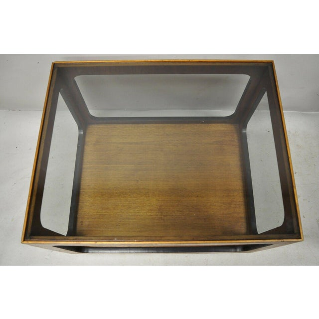 Mid-Century Modern Mid Century Modern Lane Walnut Smoked Glass Modernist End Tables - a Pair For Sale - Image 3 of 12