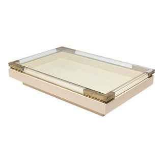 Sliding Coffee Table in Brass, Lucite and Lacquer by Charles Hollis Jones 1970s For Sale