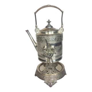 Antique Victorian Silver-Plated Tea Kettle on Stand For Sale