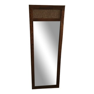 1960s Mid-Century Modern Walnut and Cane Mirror For Sale
