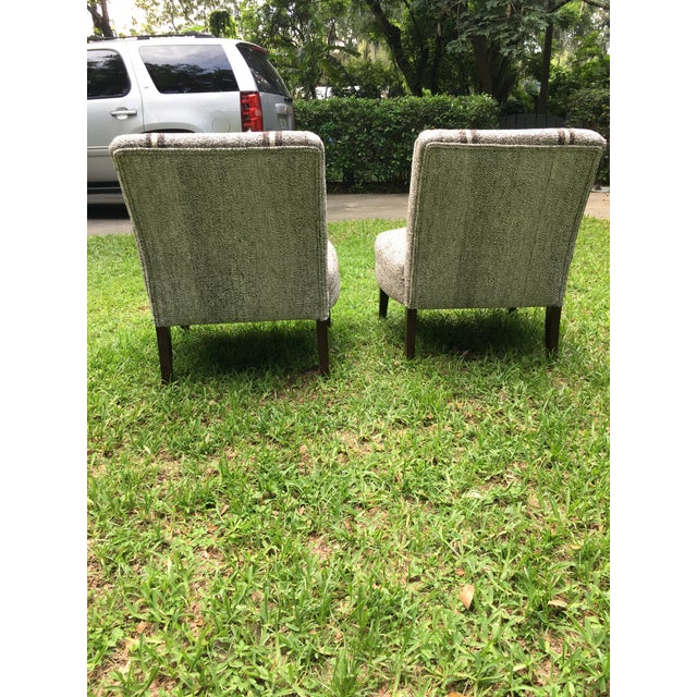 1980s Pair of Upholstered Slipper Chairs For Sale - Image 5 of 9
