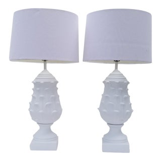 Hollywood Regency Artichoke White Ceramic Table Lamps - a Pair For Sale