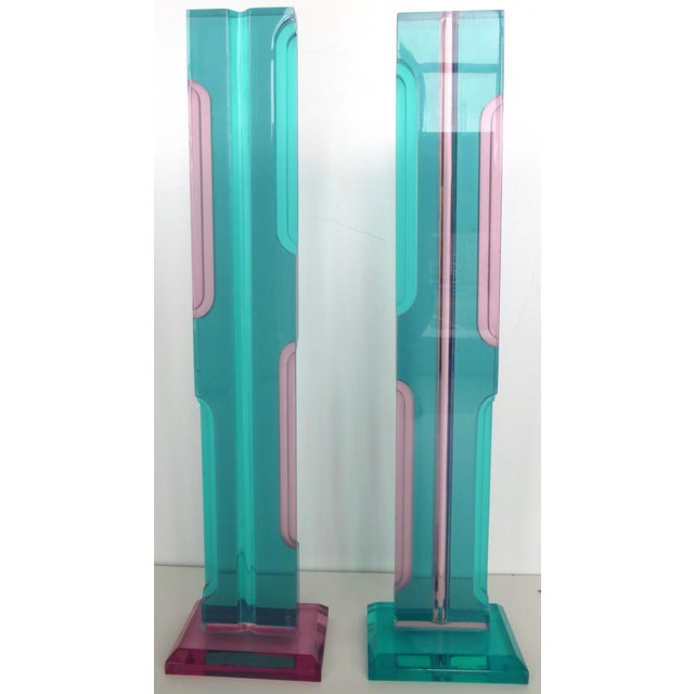 Mid Century Lucite Sculptures - Pair - Image 2 of 8