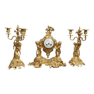 18th Century French Chinoiserie Ormolu Bronze Clock Set by Charles Dutertre & Robert Osmond - Set of 3 For Sale