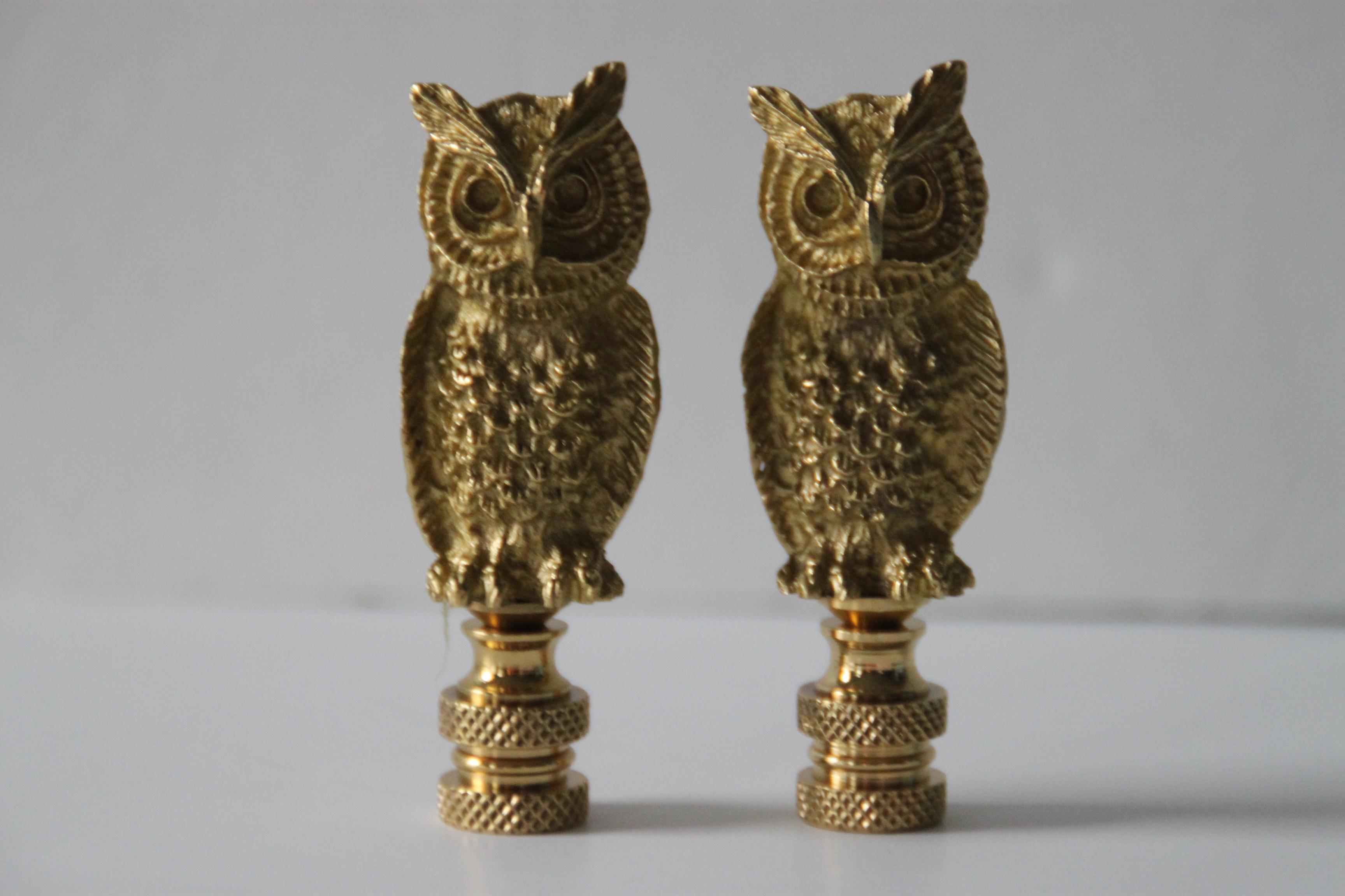 Brass Owl Lamp Finials   A Pair   Image 2 Of 3