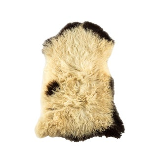 "Long Wool Sheepskin Pelt, Handmade Rug 2'1""x3'1"" For Sale"