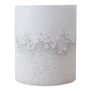Hand Made White Opal and White Plaster Drum, Side Table by Samuel Amoia For Sale
