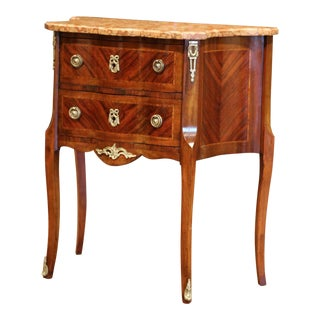 19th Century French Louis XV Carved Rosewood Inlay Commode With Beige Marble Top For Sale